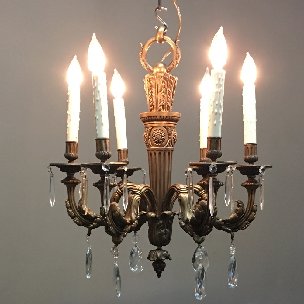Fashionable Antique French Bronze And Crystal Chandelier – Inessa Stewart's Antiques Intended For French Bronze Chandelier (View 7 of 20)