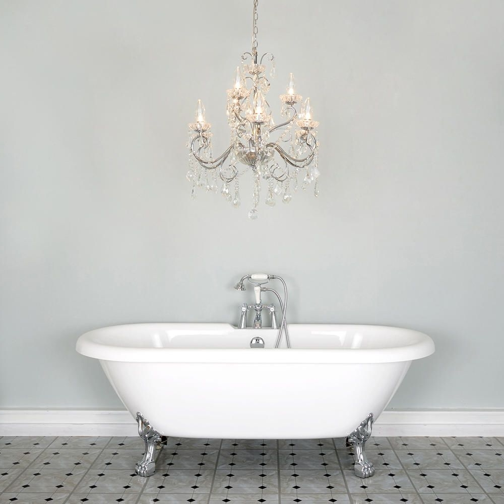 Fashionable Bathroom Chandelier W/ Crystal Glass Beads And Droplets (9 Lights With Regard To Chandeliers For Bathrooms (View 13 of 20)