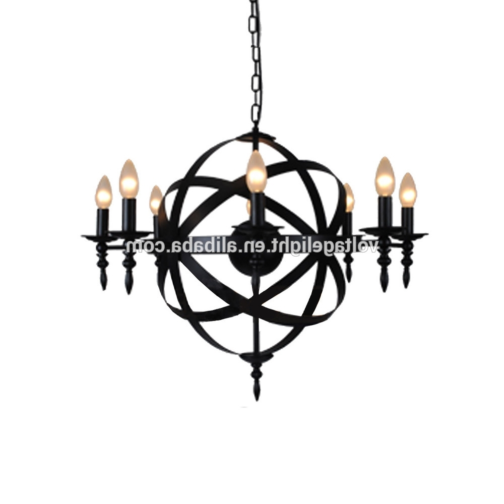 Fashionable Chandelier For Restaurant Within Exquisite Modern Classic Industrial Black Iron Candle Chandelier (View 11 of 20)