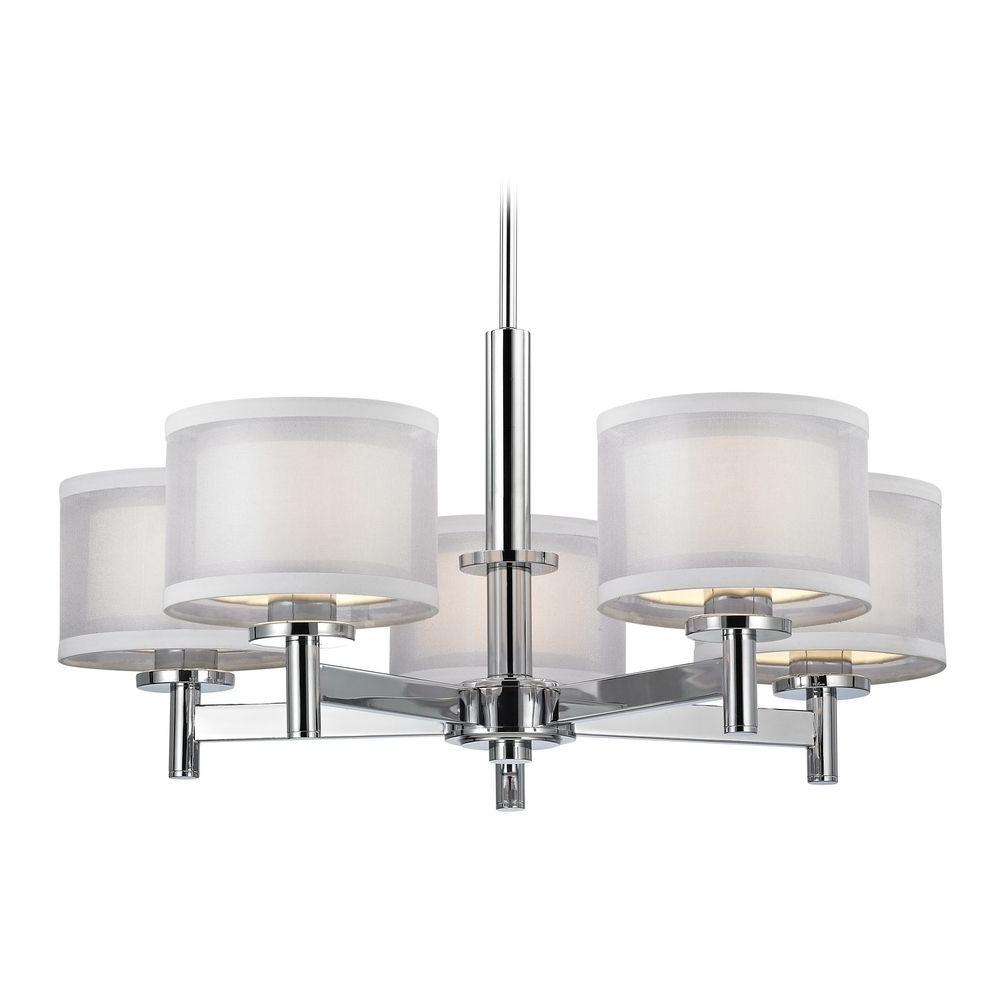 Fashionable Chrome Chandelier Inside Double Organza Chandelier Chrome 5 Lt (View 13 of 20)