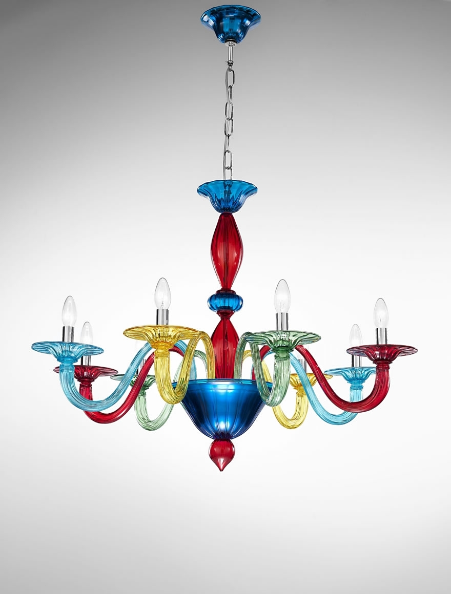 Fashionable Coloured Glass Chandelier Inside Murano Coloured Glass Chandelier – Art (View 6 of 20)