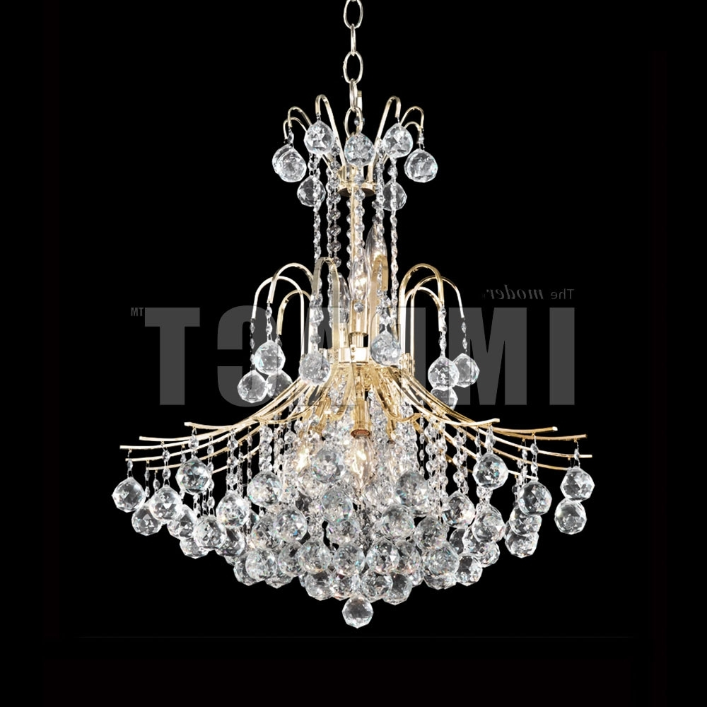 Fashionable Crystal Gold Chandelier With Regard To James Moder 40317G22 Cascade Crystal Gold Chandelier Lamp – Jam 40317G (View 14 of 20)