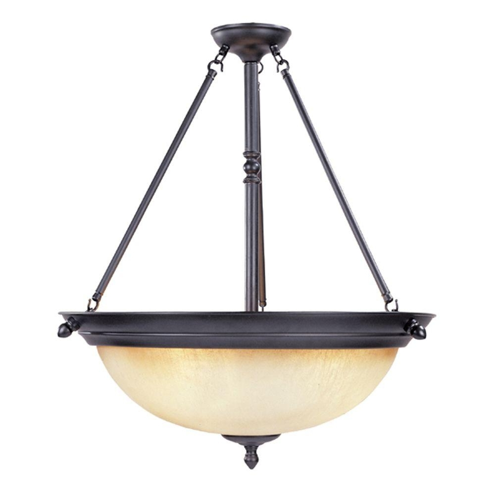 Fashionable Designers Fountain Branson Collection 3 Light Oil Rubbed Bronze With Inverted Pendant Chandeliers (View 5 of 20)