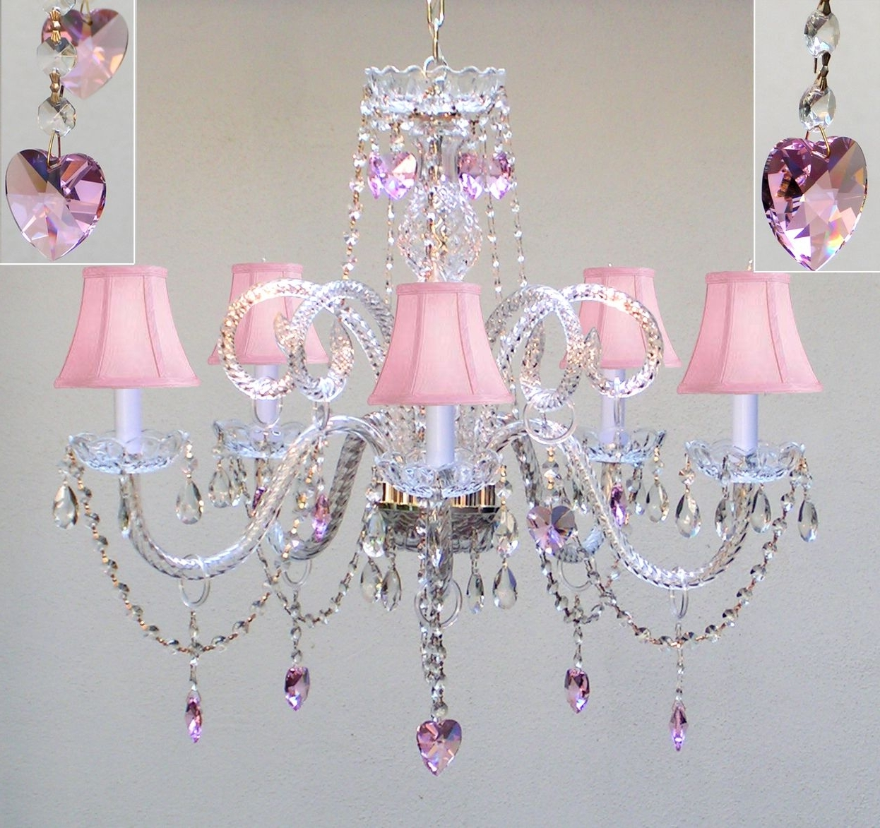 Fashionable For A Little Girls Room! A46 Sc/387/5/pinkhearts Chandeliers Inside Purple Crystal Chandelier Lighting (View 7 of 20)