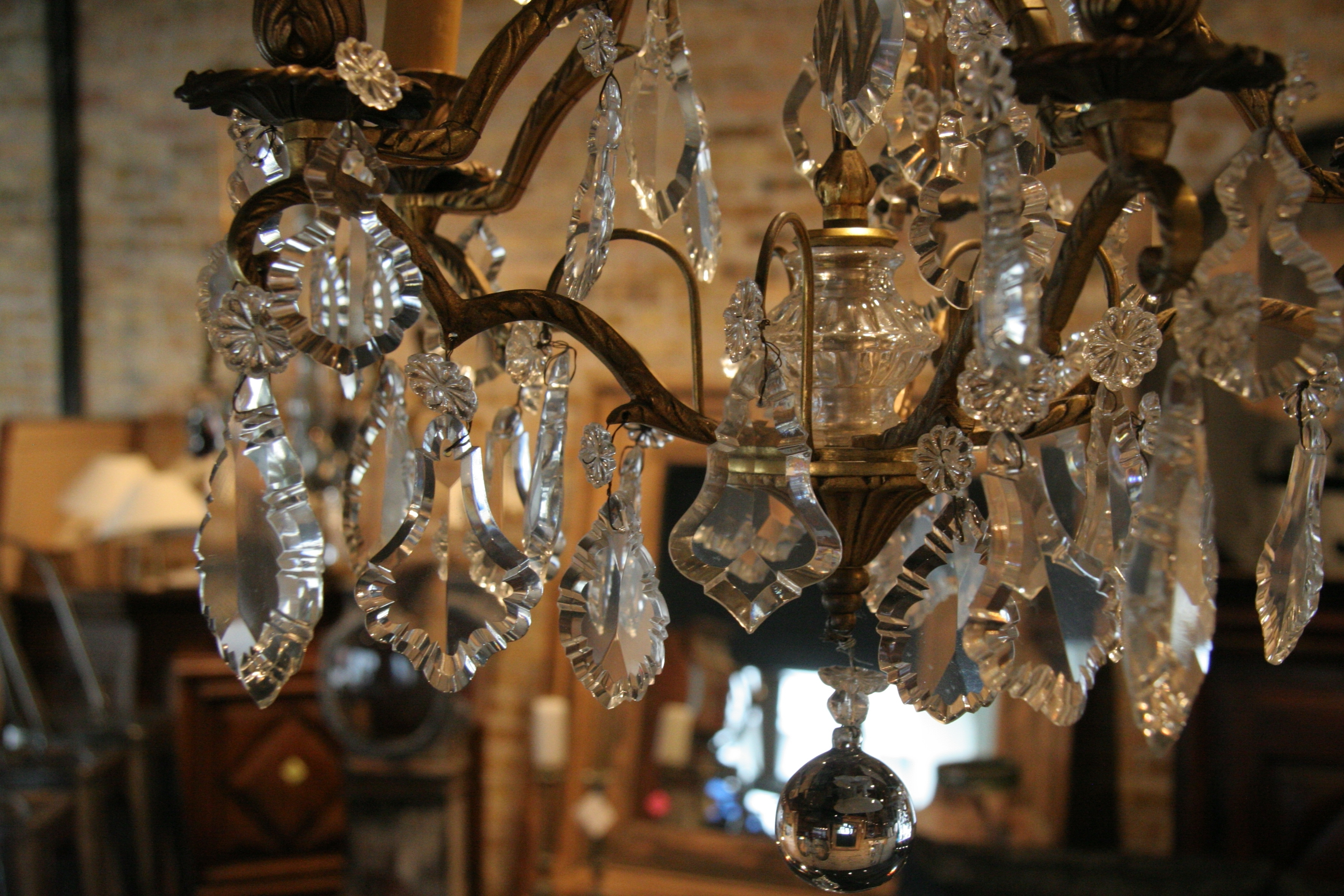 Fashionable French Antique Chandeliers With Antique French 5 Light Brass And Crystal Chandelier – Sold – (View 12 of 20)
