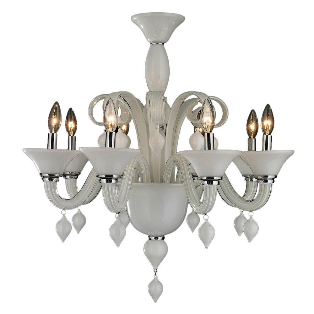 Fashionable Glass Chandelier For Worldwide Lighting Murano Venetian Style 8 Light White Blown Glass (View 5 of 20)