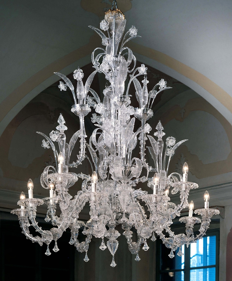 Fashionable Glass Chandelier Pertaining To Murano Chandelier Large Ca Rezzonico L7061k12 Clear Glass – Murano (View 16 of 20)