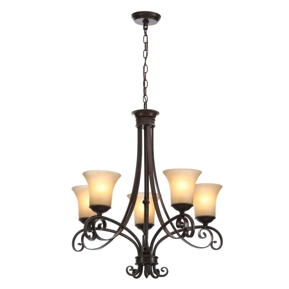 Fashionable Large Black Chandelier With Hampton Bay Essex 5 Light Aged Black Chandelier With Tea Stained (View 18 of 20)