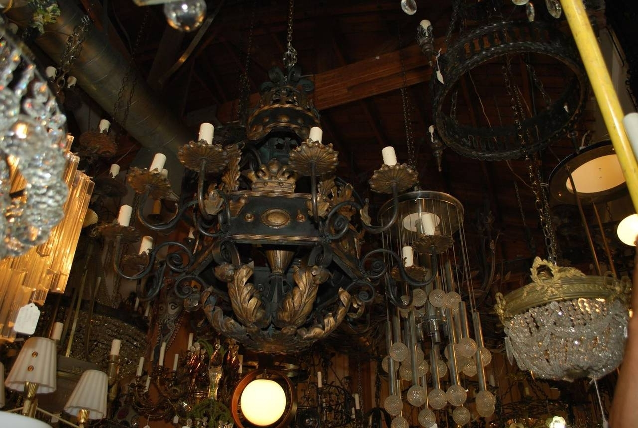 Fashionable Large Chandeliers For Very Large And Rare French 1930 Wrought Iron Chandelier For Sale At (View 4 of 20)