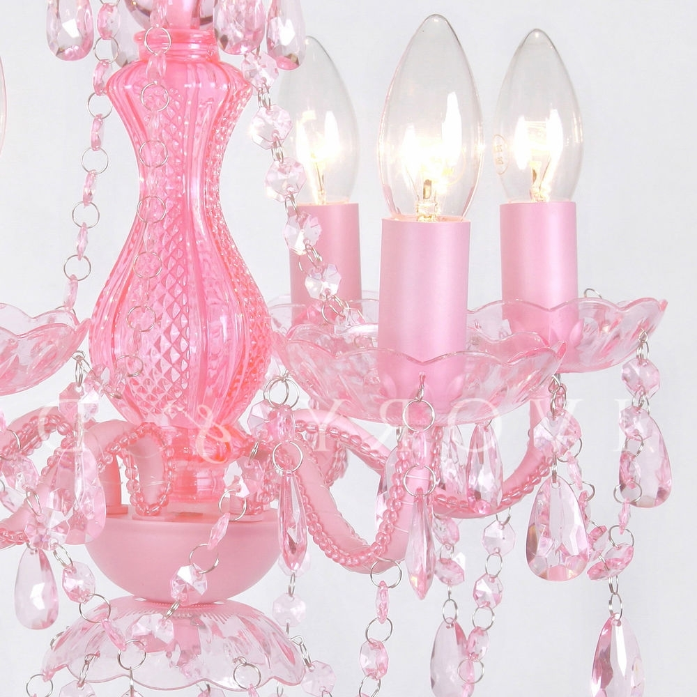 Fashionable Love Pink Chandelier 5 Light Gorgeous Soft Gypsy Boho Crystals Regarding Pink Gypsy Chandeliers (View 13 of 20)