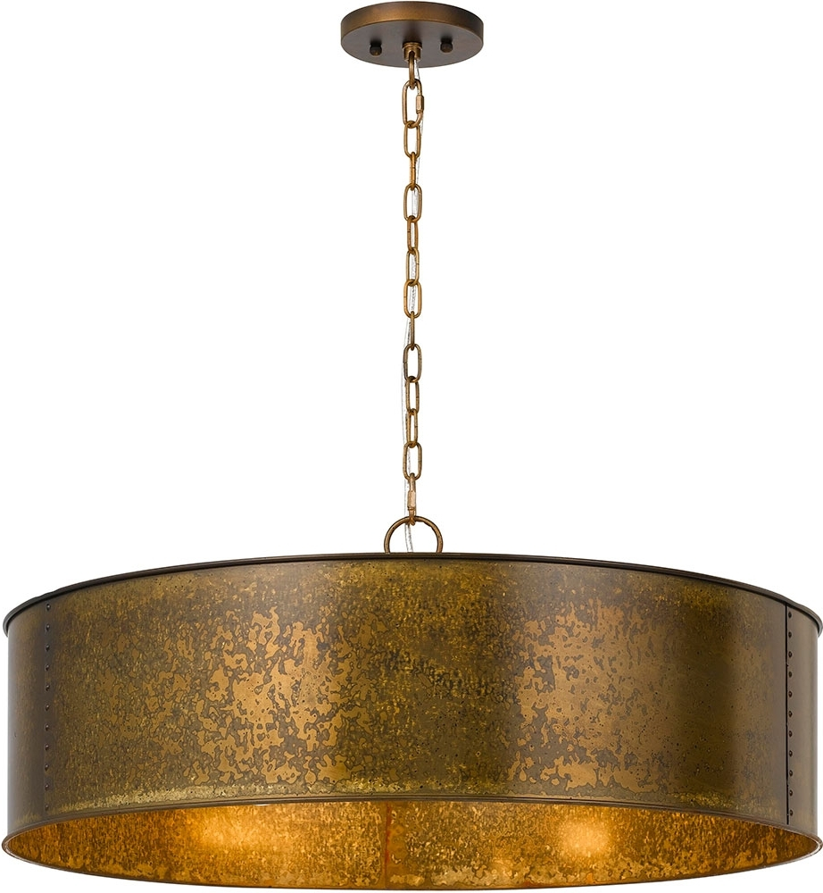 Fashionable Metal Drum Chandeliers Intended For Cal Fx 3637 5 Rochefort Distress Gold Drum Pendant Light Fixture (View 6 of 20)