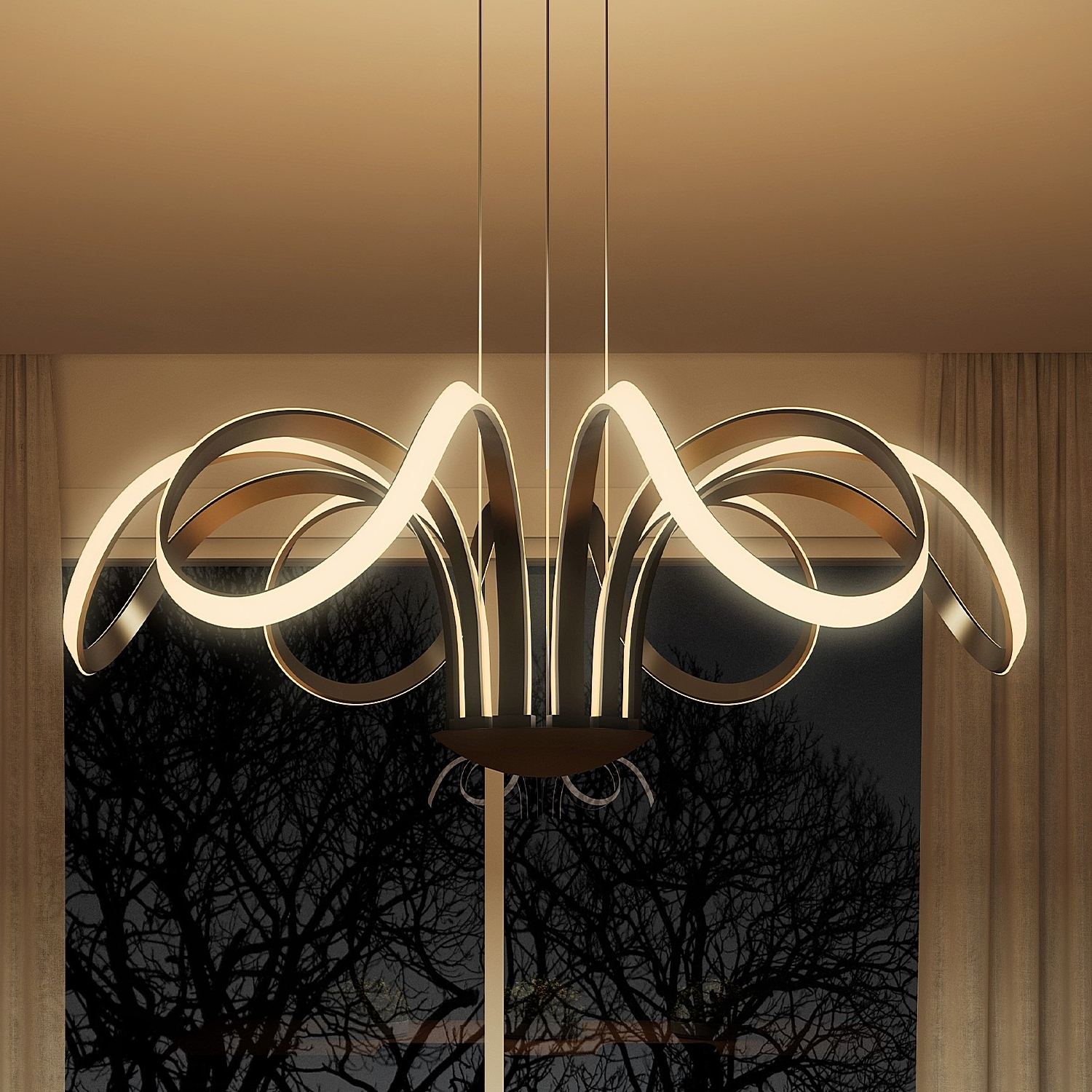Fashionable Modern Chandelier Lighting Regarding Capella Vmc32420bl Modern Flower Pedal Led Chandeliervonn (View 7 of 20)