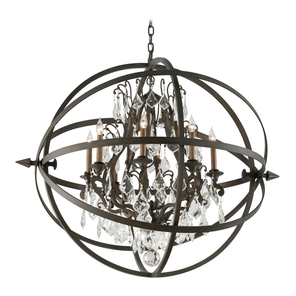 Fashionable Orb Chandelier With Crystal Orb Chandelier Pendant Light In Vintage Bronze Finish (View 18 of 20)