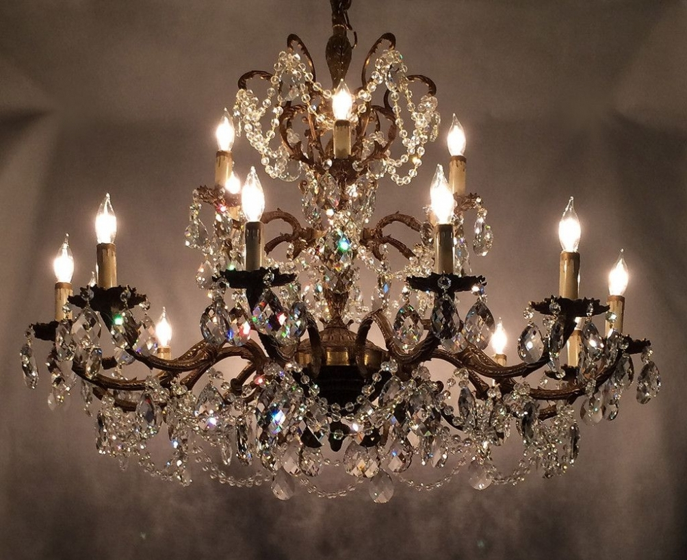 Fashionable Vintage Crystal Chandelier Prisms – Chandelier Designs In Brass And Crystal Chandeliers (View 9 of 20)