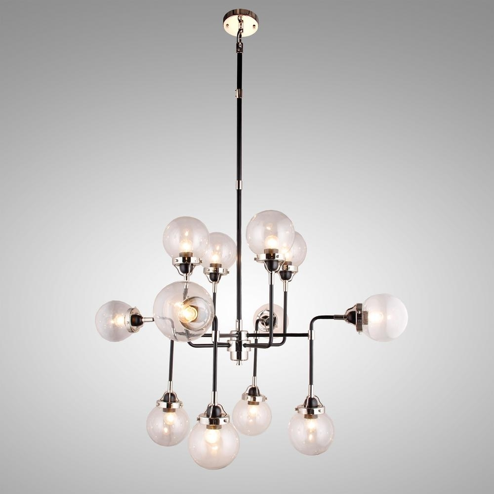 Fashionable Y Decor 12 Light Black And Chrome Chandelier With Clear Glass Shade With Regard To Chrome And Glass Chandelier (View 6 of 20)