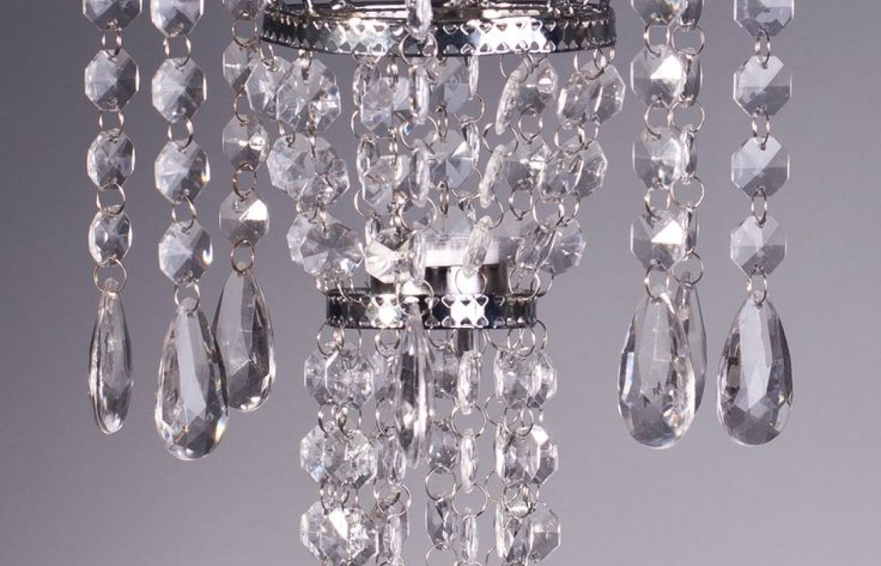 Faux Crystal Chandelier Centerpieces Inside Preferred Chandelier : Stunning Faux Crystal Chandelier Wedding Bead Strands (View 9 of 20)