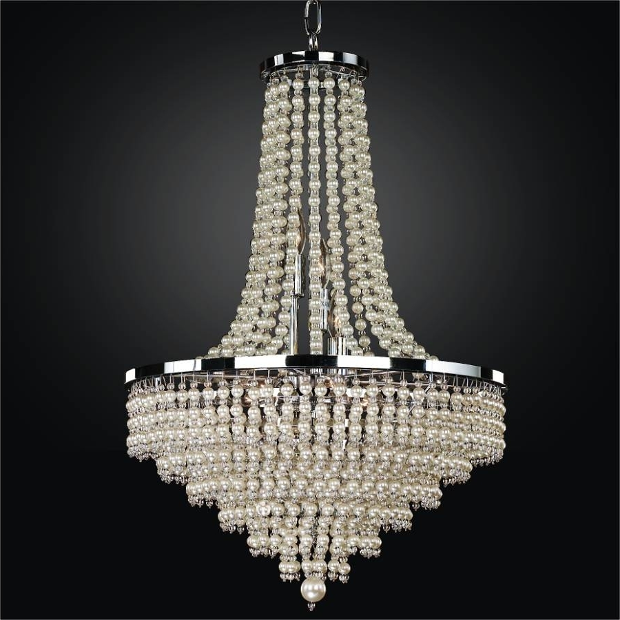 Faux Pearl Beaded Chandelier – Shop – Glow® Lighting In Current Cheap Faux Crystal Chandeliers (View 15 of 20)