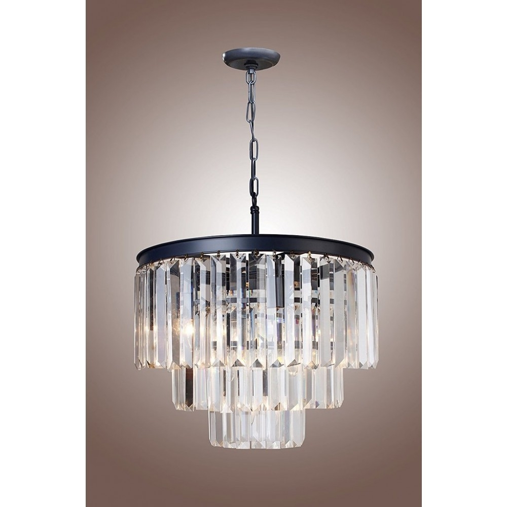 """Favorite 21"""" Vintage Crystal Pendant Ceiling Light Fixture, 1920s Within 3 Tier Crystal Chandelier (View 11 of 20)"""