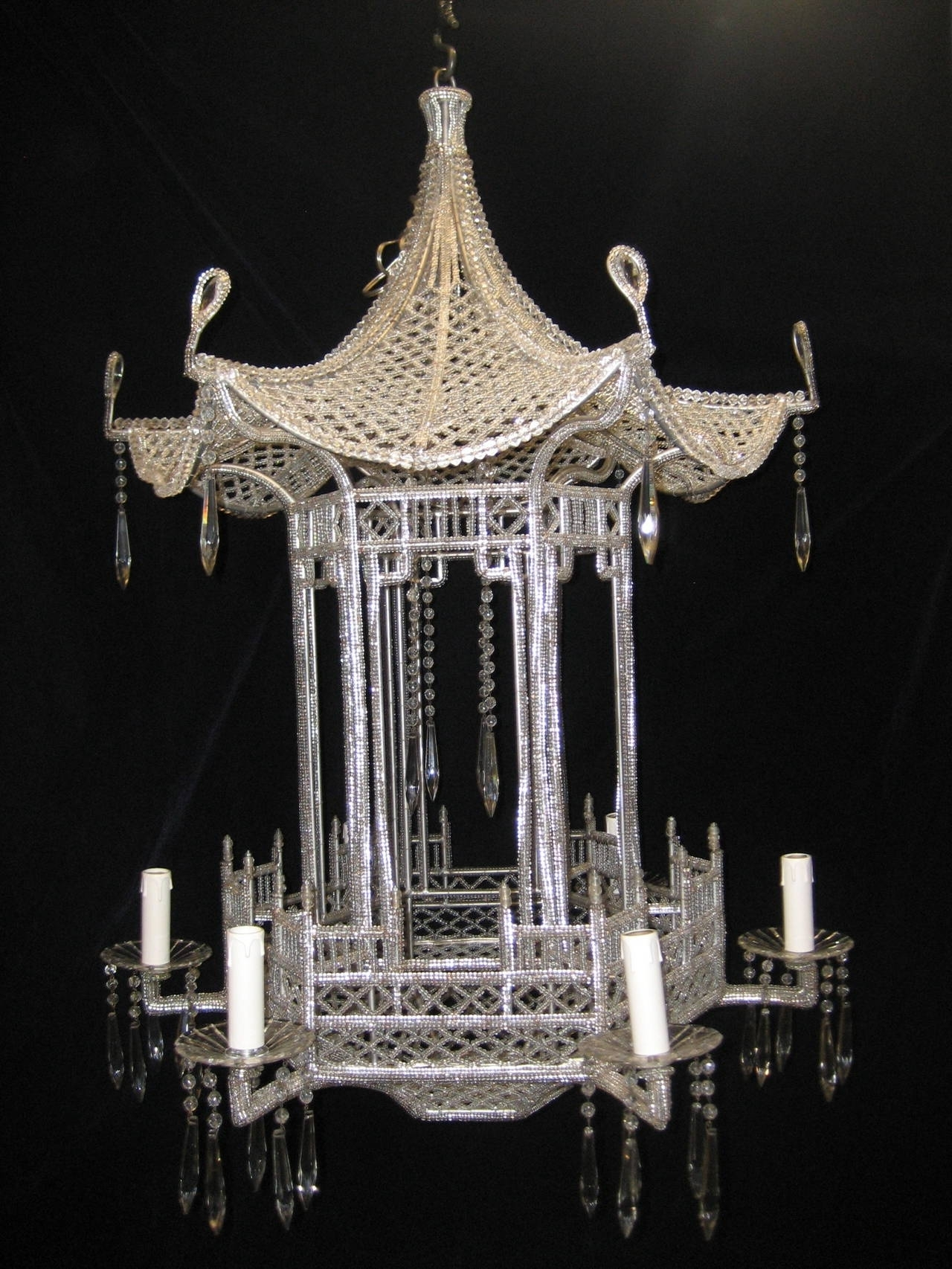 Favorite Chinoiserie Chandeliers Regarding Pair Of Italian Chinoiserie Pagoda Form Beaded Glass And Crystal (View 2 of 20)