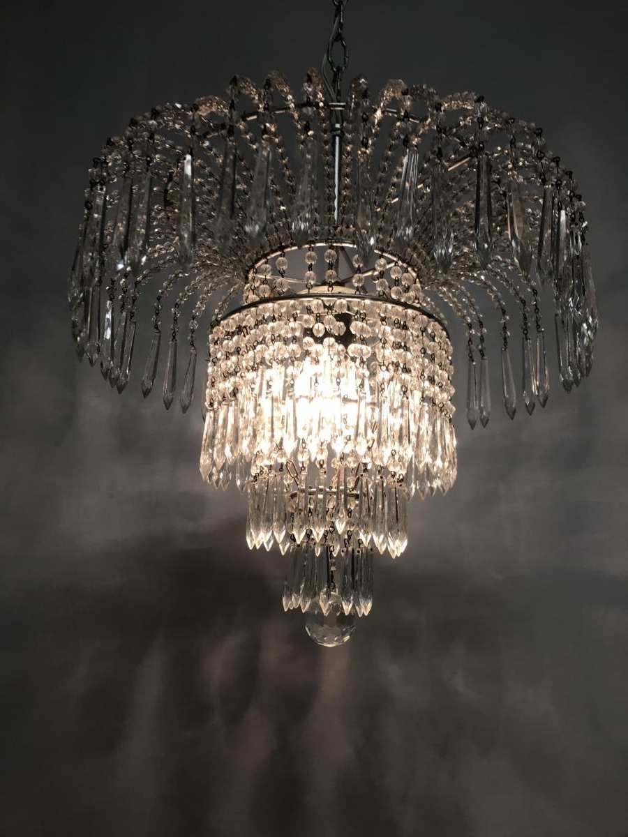Favorite Crystal Waterfall Chandelier In Vintage Italian Crystal Beaded Waterfall Chandelier For Sale At Pamono (View 10 of 20)