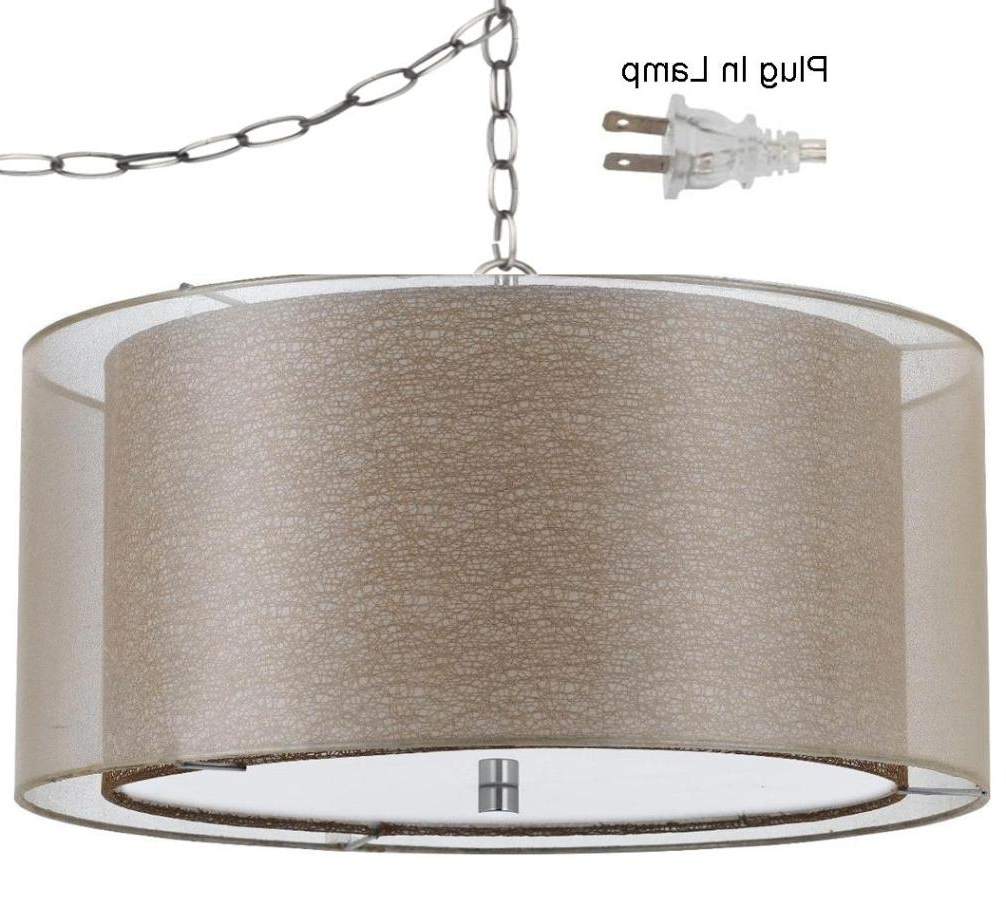 Favorite Double Drum Swag Lamp Golden Sheer Organza #fx 3527 1P Swag Within Lampshade Chandeliers (View 4 of 20)