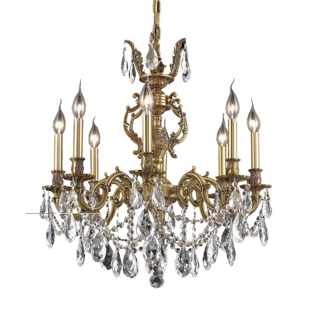 Favorite French Gold Chandelier Intended For Elegant Lighting 8 Light French Gold Chandelier With Clear Crystal (View 8 of 20)
