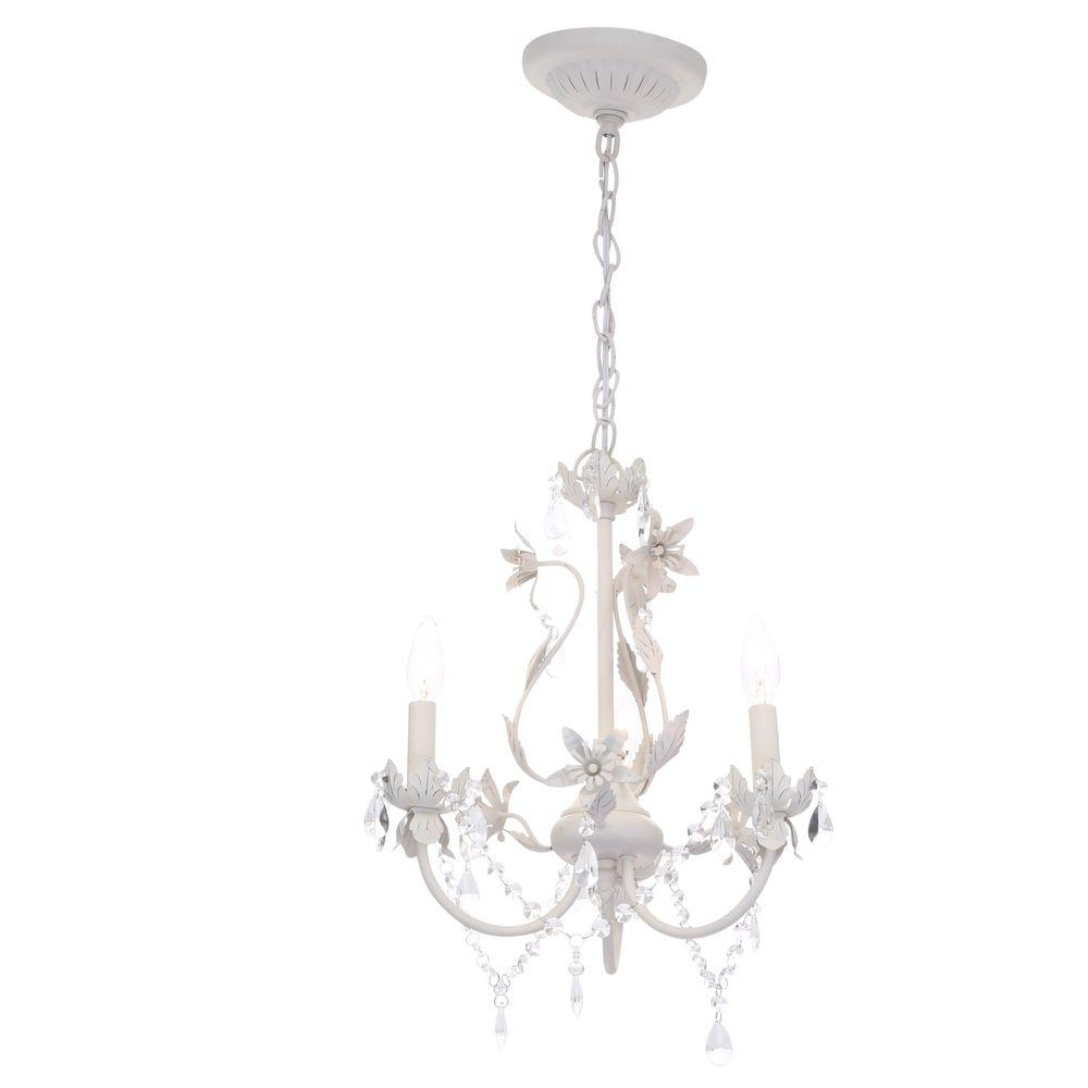 Favorite Mini Chandeliers For Nursery Throughout Hampton Bay Kristin 3 Light Antique White Hanging Mini Chandelier (View 11 of 20)