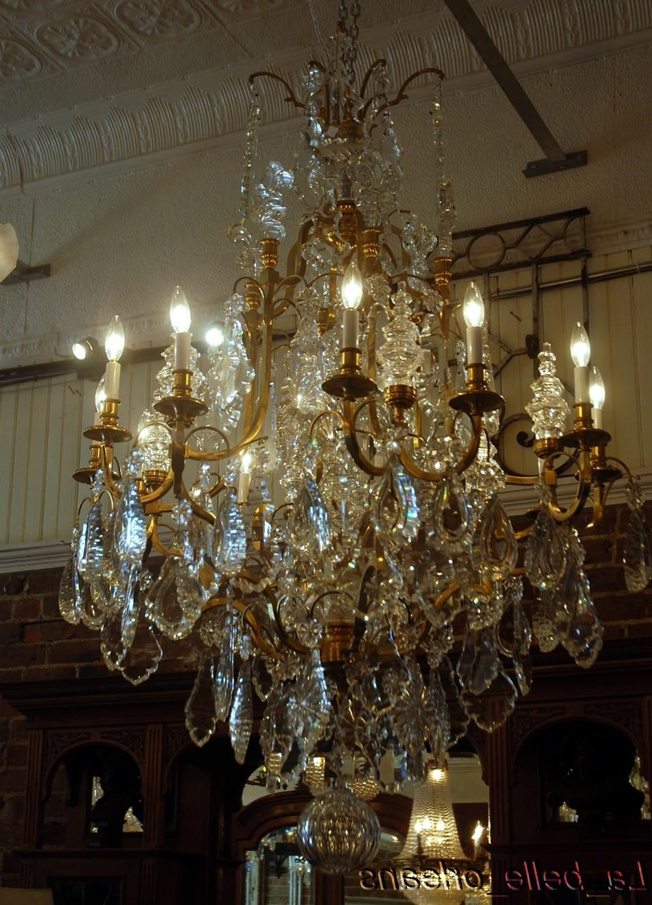 Favorite Monumental Pair French Crystal & Bronze Chandeliers For Sale Regarding Huge Crystal Chandeliers (View 12 of 20)