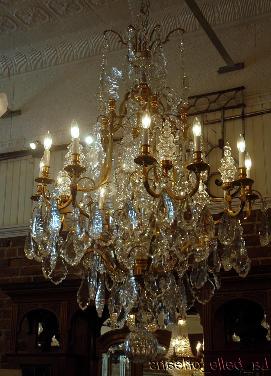 Favorite Monumental Pair French Crystal & Bronze Chandeliers For Sale Regarding Huge Crystal Chandeliers (View 6 of 20)