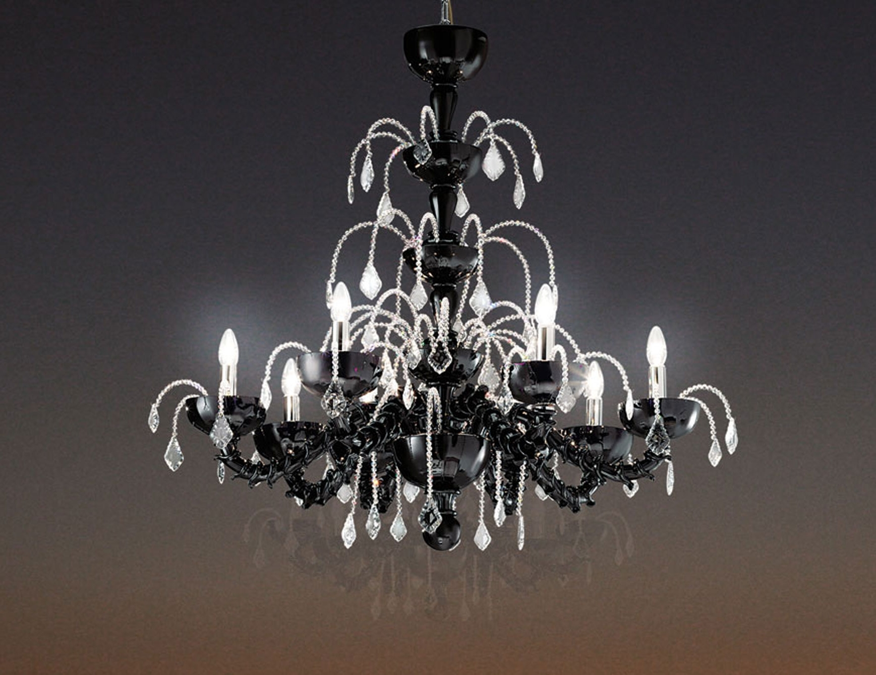 Favorite Nella Vetrina Leucos Couture L8 Modern Italian Chandelier In Black Throughout Modern Italian Chandeliers (View 6 of 20)