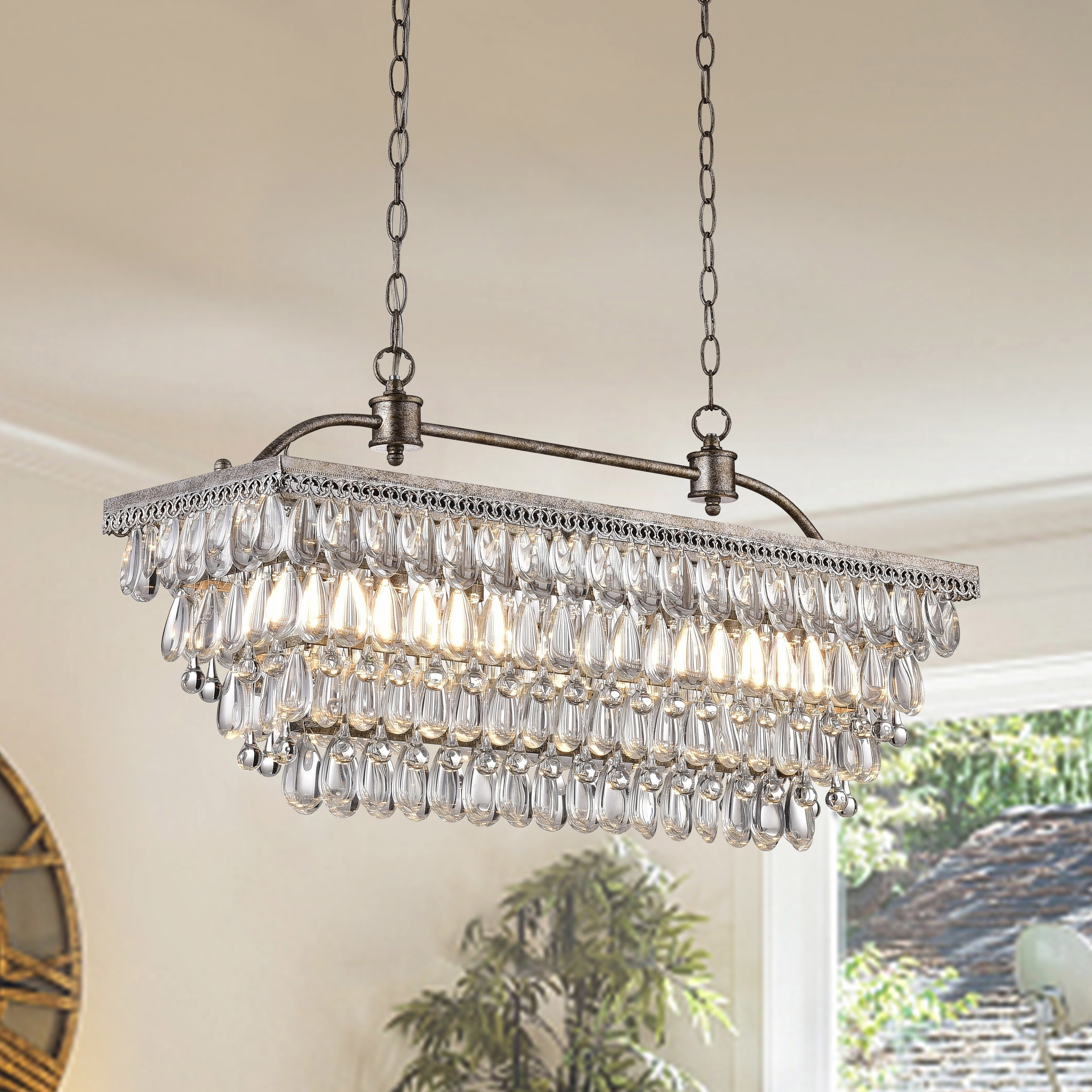 Favorite Silver Orchid Taylor Antique Silver 6 Light Rectangular Glass With Glass Droplet Chandelier (View 10 of 20)