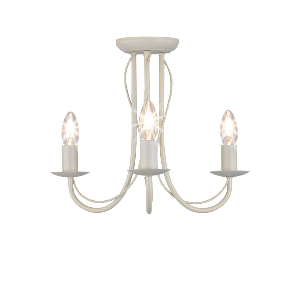 Favorite Wilko 3 Arm Chandelier Metal Ceiling Light Fitting Cream (View 4 of 20)