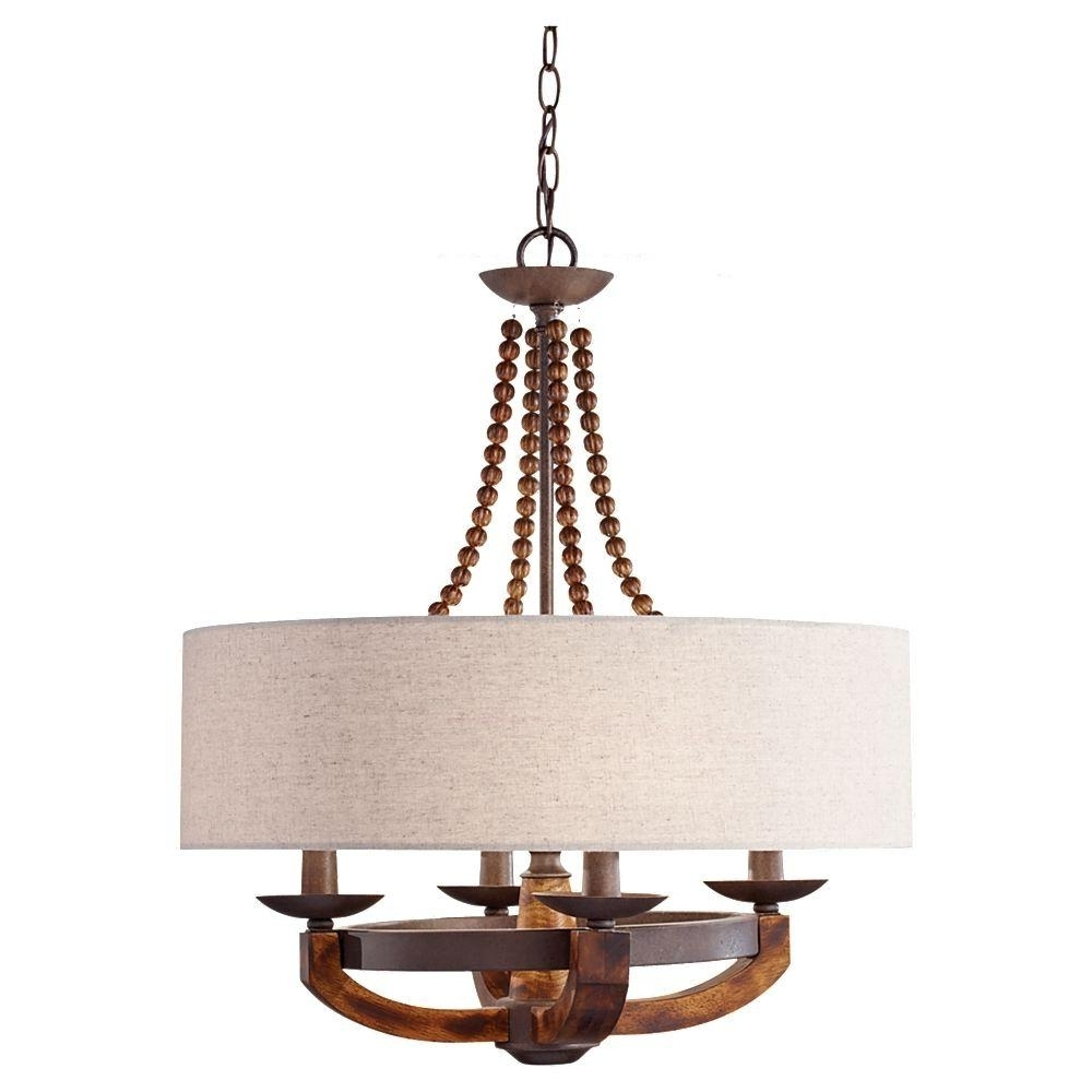 Feiss Adan 4 Light Rustic Iron/burnished Wood Billiard Island Pertaining To Preferred Fabric Drum Shade Chandeliers (View 15 of 20)