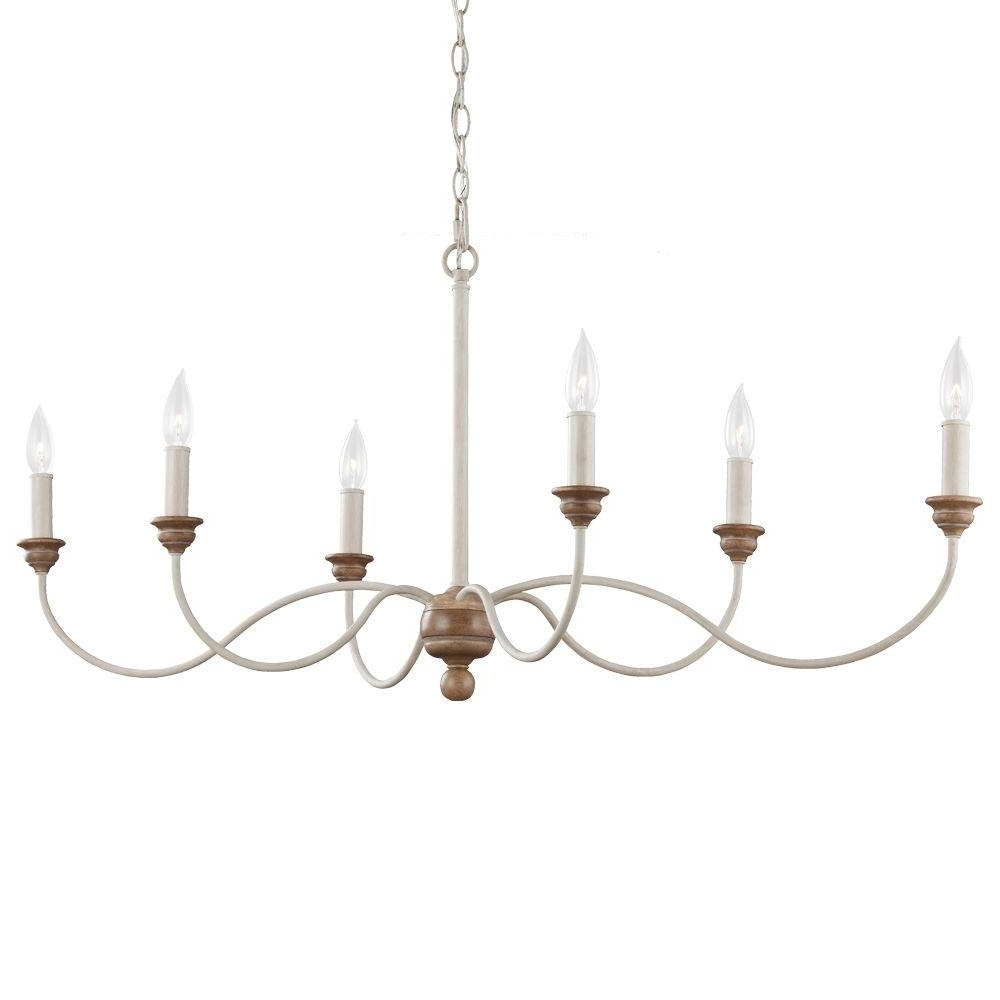 Feiss Chandeliers With Most Popular Feiss Hartsville 6 Light Chalk Washed/beachwood Single Tier (View 8 of 20)