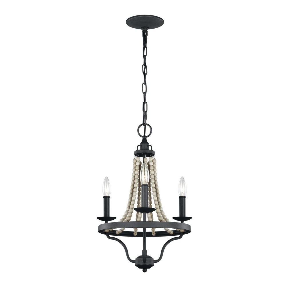 Feiss Nori 3 Light Dark Weathered Zinc And Driftwood Grey Chandelier Pertaining To Well Known Grey Chandeliers (View 13 of 20)
