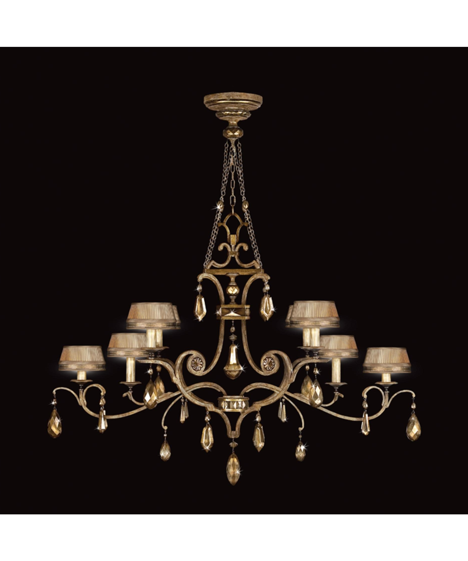 Fine Art Lamps 755440 Golden Aura 63 Inch Wide 8 Light Chandelier Pertaining To Well Liked Chandelier Wall Lights (View 14 of 20)