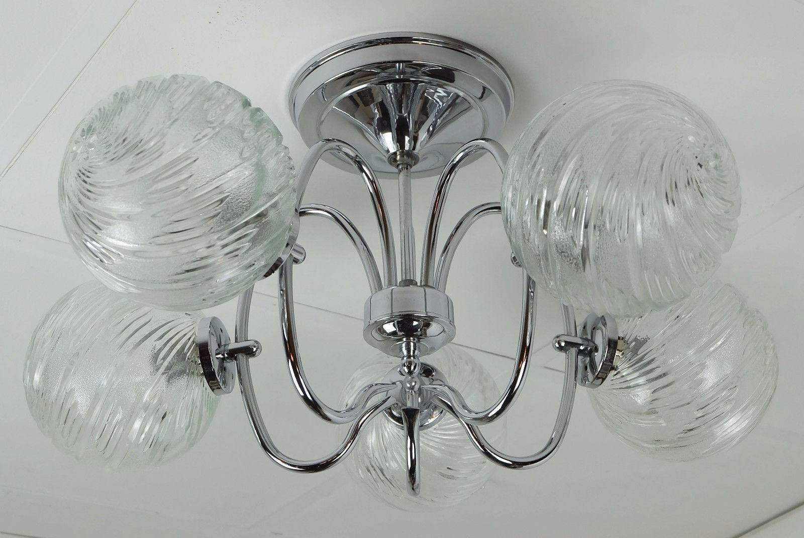 Five Globe Sputnik Orbit Chandelier In Chromed Metal And Glass From Regarding Most Recent Chandelier Globe (View 19 of 20)