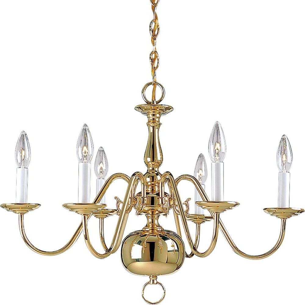 Flemish Brass Chandeliers With Regard To Most Up To Date Brass – Candle Style – Chandeliers – Lighting – The Home Depot (View 7 of 20)