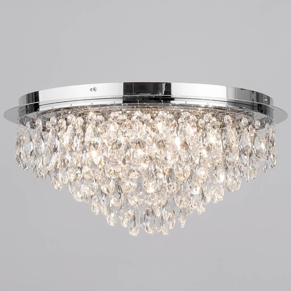 Flush Ceiling Light – Crystal 6 Light Chrome (View 8 of 20)