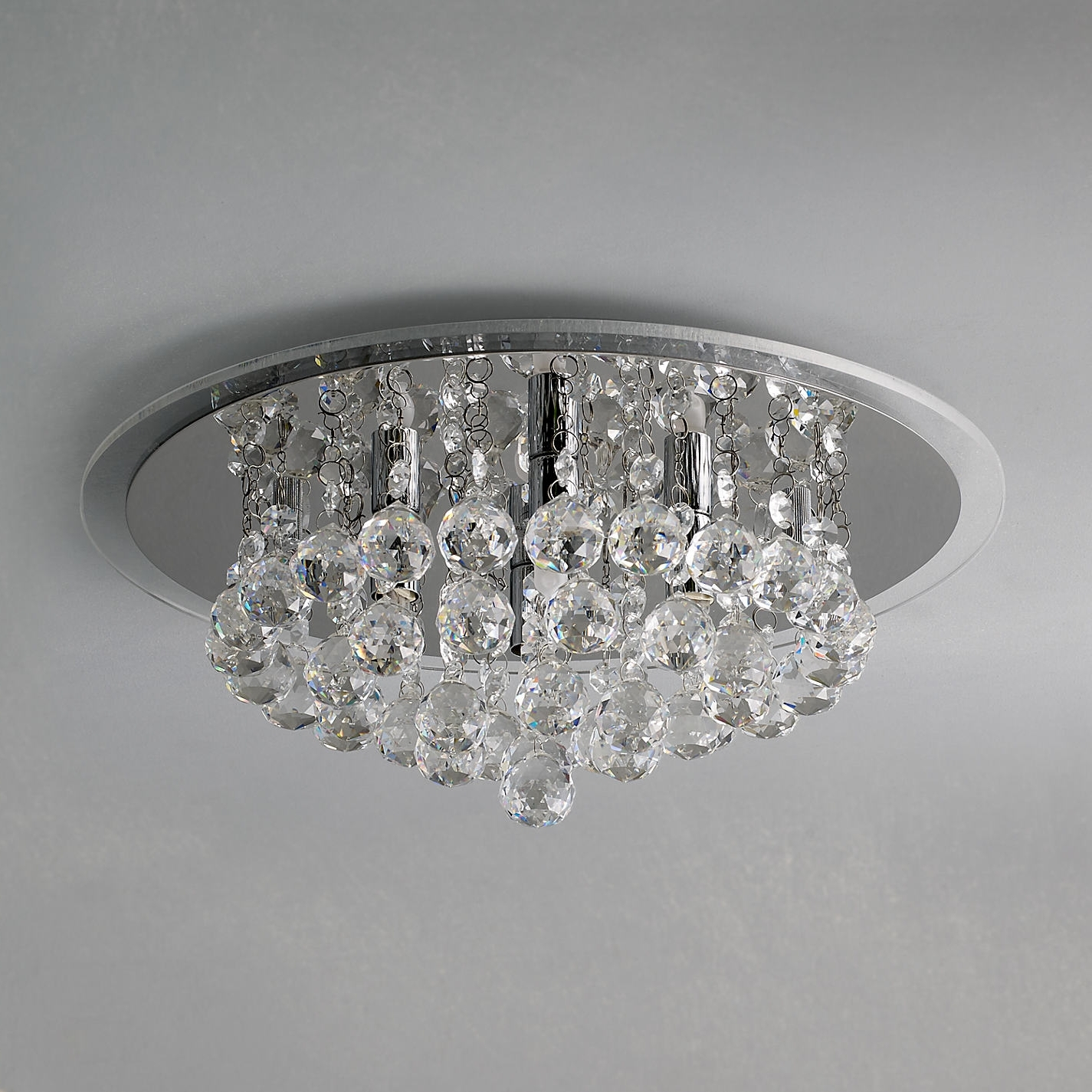 Flush Chandelier Ceiling Lights With Regard To Most Recently Released John Lewis Belinda Flush Ceiling Light Chrome Crystal Ceiling Lights (View 14 of 20)