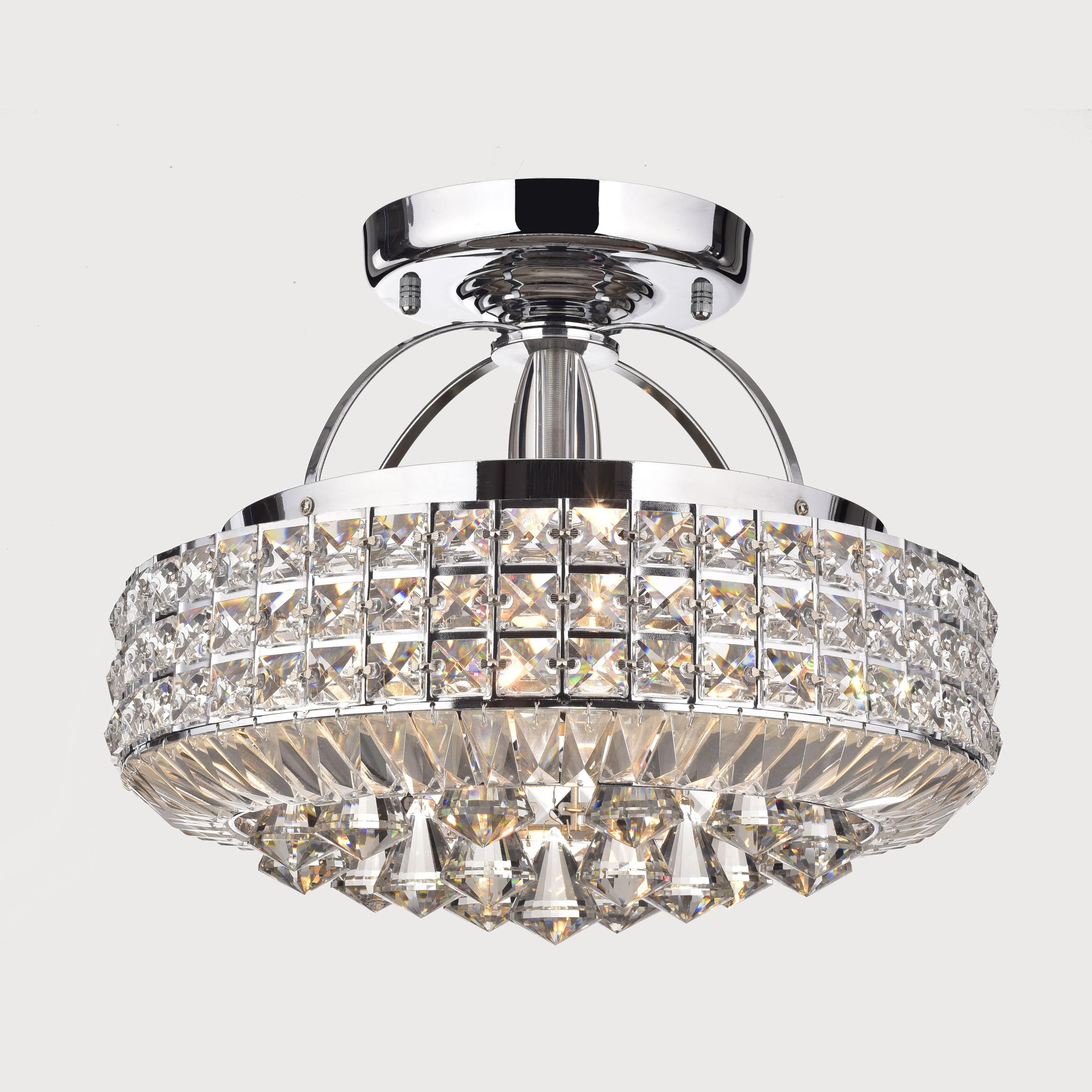Flush Chandelier Pertaining To Current Jolie Chrome Drum Shade Crystal Semi Flush Mount Chandelier – Free (View 9 of 20)