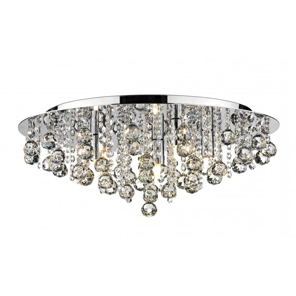 Flush Fitting Chandelier Pertaining To 2018 Dar Lighting Pluto Plu5450 Polished Chrome Flush 5 Light Ceiling Fitting (View 5 of 20)