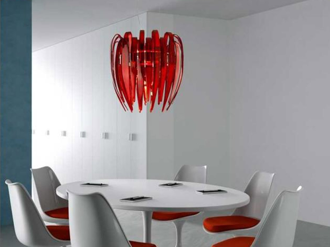 Foxy Modern Light Fixtures With Red Chandelier On Plain Ceiling Pertaining To Most Up To Date Modern Red Chandelier (View 10 of 20)