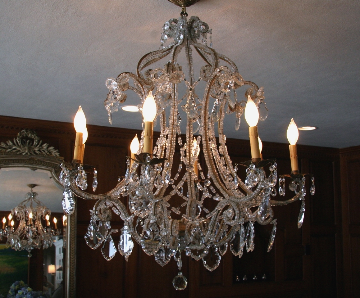 French Antique Chandeliers Intended For Popular Antique French Macaroni Bead Crystal Chandelier – Sold – (View 3 of 20)