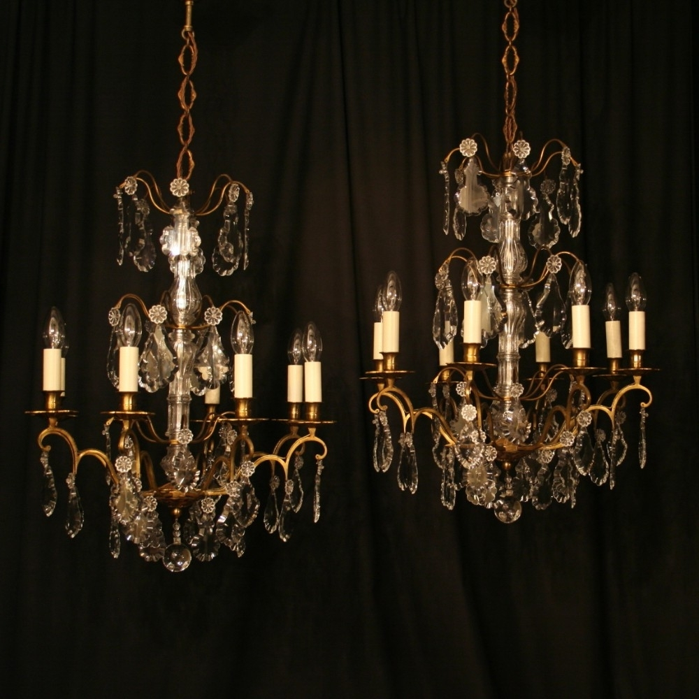 French Antique Chandeliers Pertaining To Newest A French Pair Of Gilded 6 Light Antique Chandeliers (View 16 of 20)