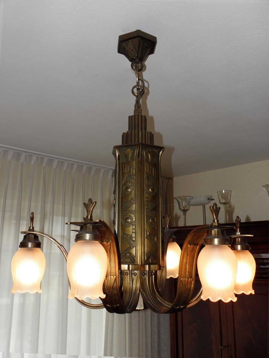 French Art Deco Bronze Chandelier, 1920s For Sale At Pamono Intended For Popular Art Deco Chandelier (View 13 of 20)