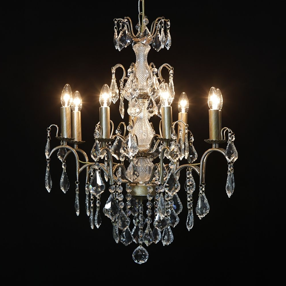French Chandelier For Recent Antique French Cut Glass Gold Chandelier 8 Arm (View 16 of 20)