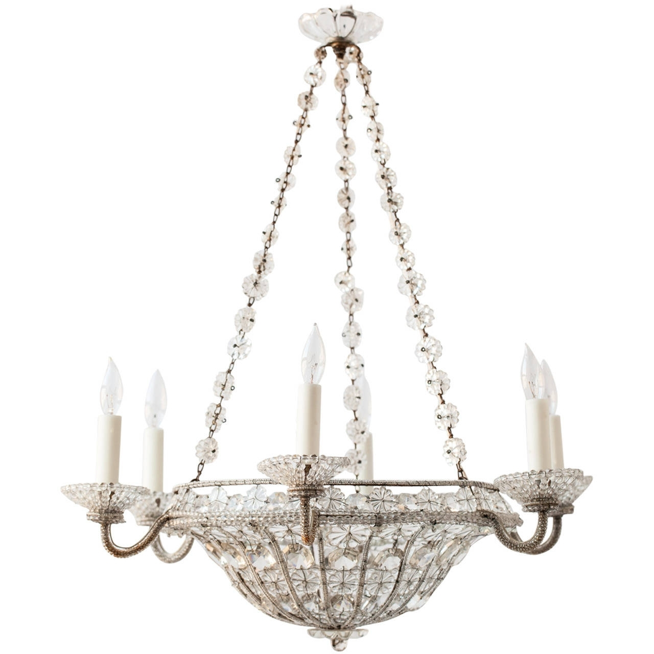 French Chandelier Inside Popular French Chandelier In A Basket Shape With Crystal Flowers, Circa  (View 6 of 20)