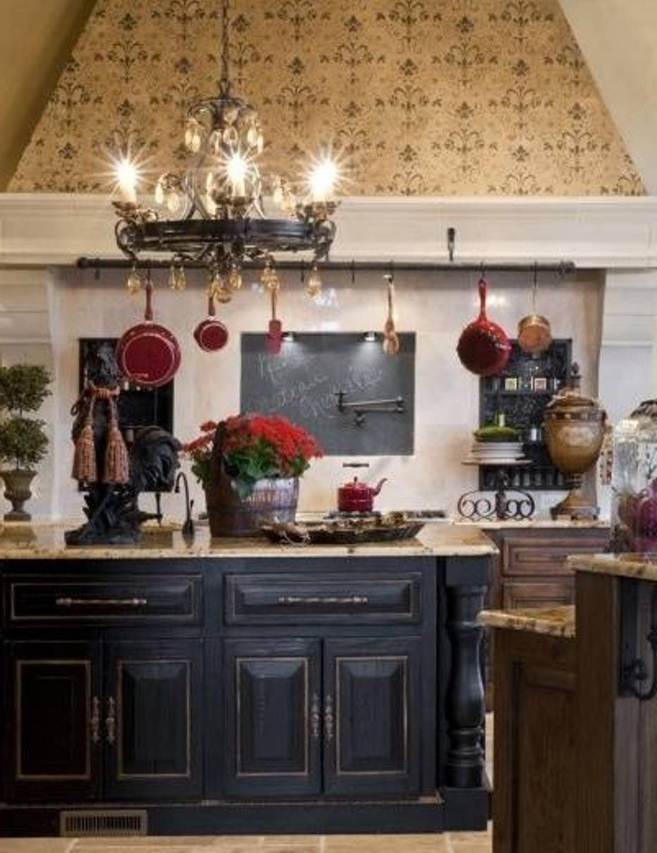 French Country Chandeliers For Kitchen Within Preferred Black Round French Country Style Chandeliers For Kitchen With White (View 2 of 20)