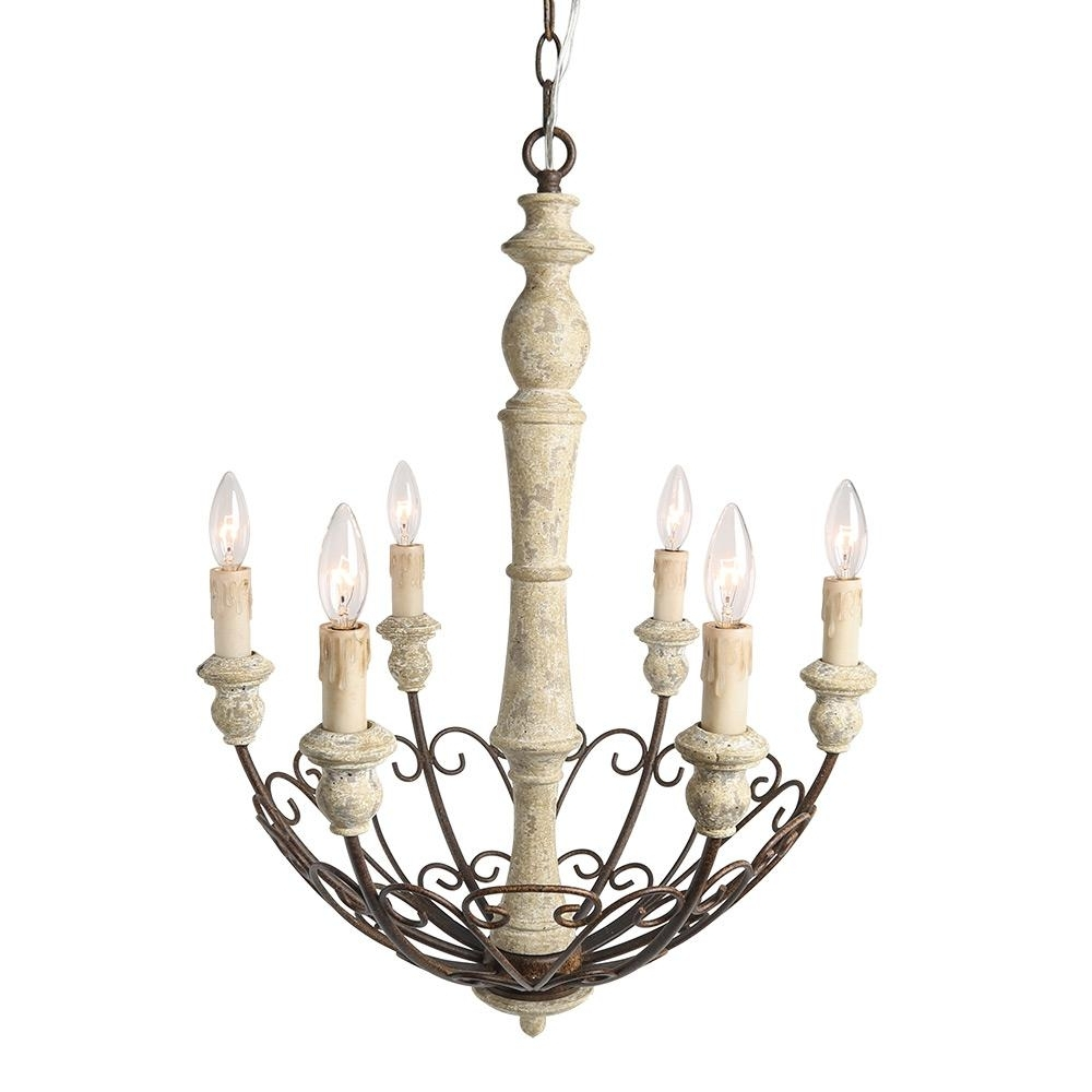 French Country Chandeliers With Widely Used Lnc 6 Light Ivory White Shabby Chic French Country Chandelier A (View 9 of 20)